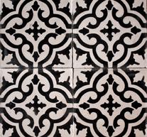 Marockanska kakelplattor svart vit